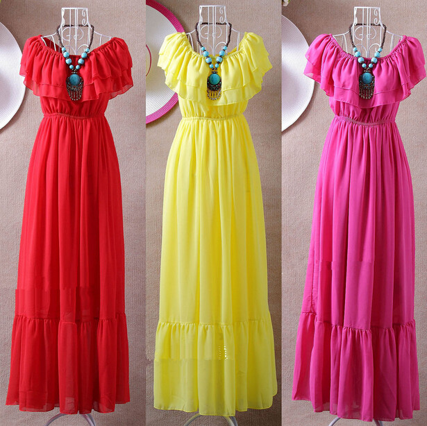 2020 Slash Neck Ruffles Bohemian Chiffon Full Dress,girl Long Dress Vestido De Festa,larger Size S - 4XL 5XL 6XL  Women Dresses