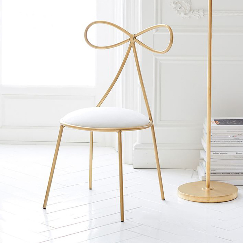 High quality Metal Chair Fashion Nordic Bar Leisure Stool Modern Dining Party Seat with Bow Shape Backrest and High Foam Sponge high top quality c shape brass metal