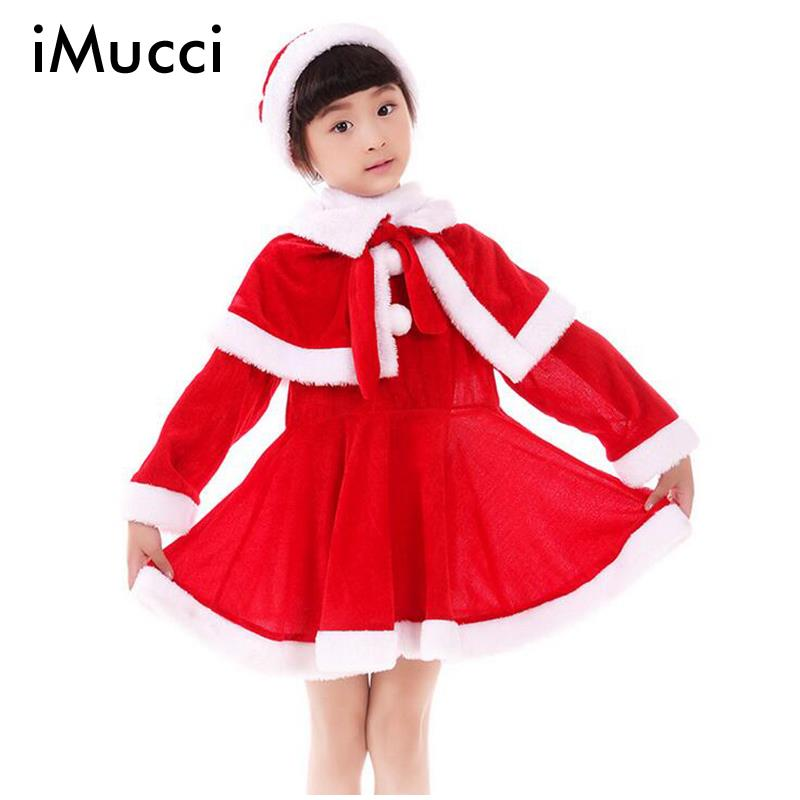 Imucci red girl christmas cloth for girls santa claus clothing costume