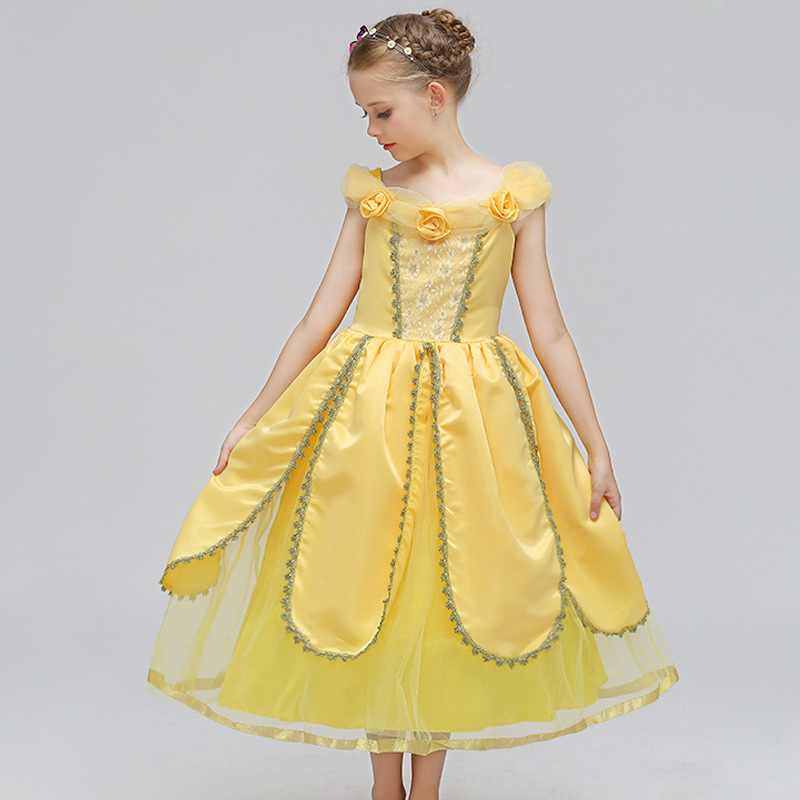 ABGMEDR Brand Princess Belle Dress Girls Dresses 2018 Spring Girls Cosplay Clothing Children Party Dress Kids Cartoon Clothes kids girls dresses new brand children s clothing spring models bow star print princess dress 90 130cm