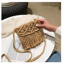 Cotton rope weaving women bag flap shoulder cross body bag with tassel nice beach bag ladies bags
