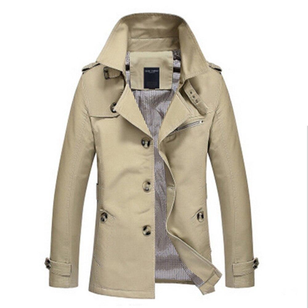 Mens khaki jacket casual - 2016 New Spring Mens Khaki Trench Coat Full Length Slim Fit Men Long Coat 5xl Stand
