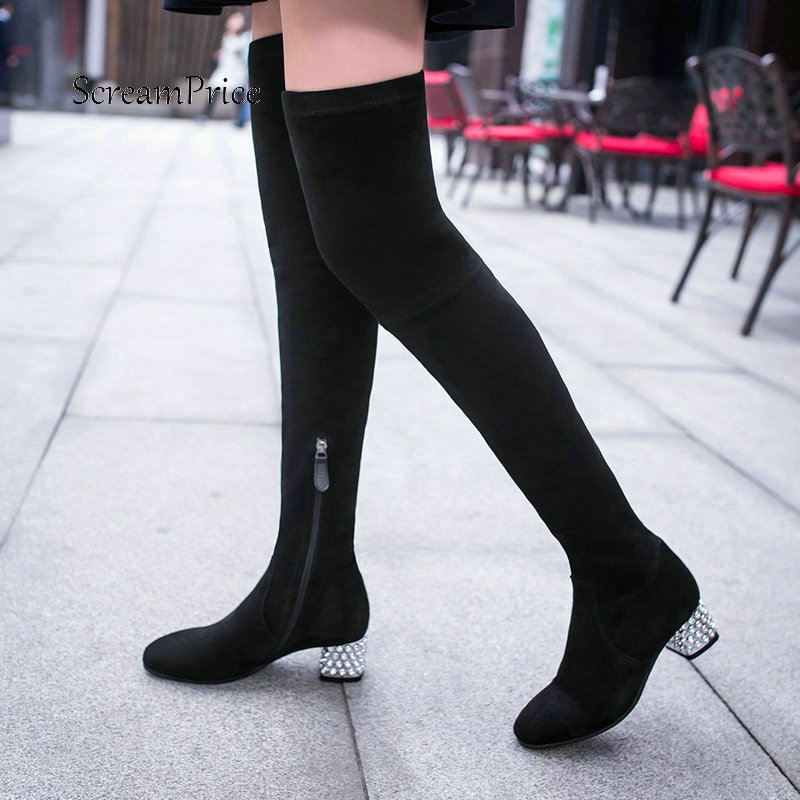 New Winter Women Suede Crystal With Side Zipper Over The Knee Boots Comfortable Low Heel Thigh Elastic Boots Black