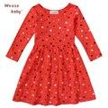 2016 Fishon 100% Algodão Do Bebê Meninas Vestido Vermelho Coração-Forma da Longo-Luva Vestidos de Inverno Para Crianças dos miúdos Roupas
