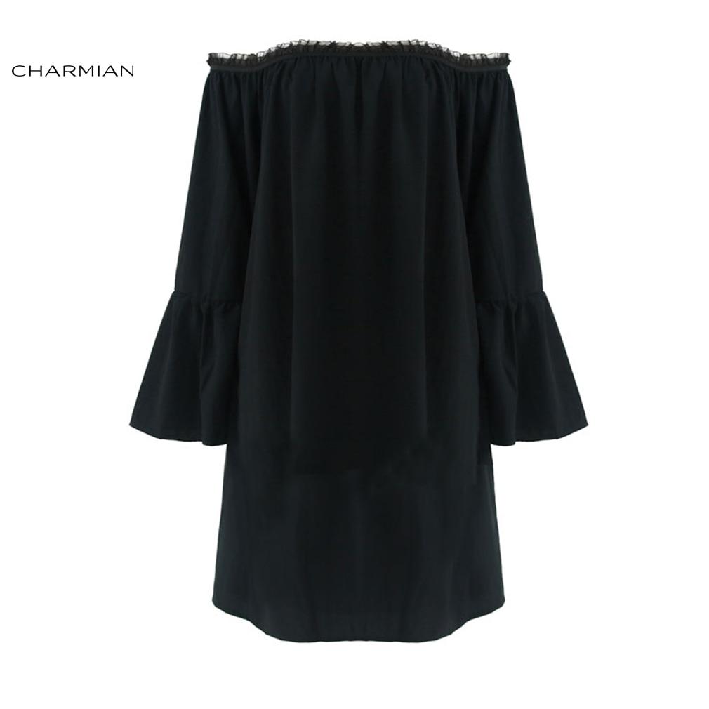Charmian Women's Sexy Off Shoulder Top Shirt Fashion Lolita Lace Ruffle Victorian Vintage Gothic Top Casual Long Blouse
