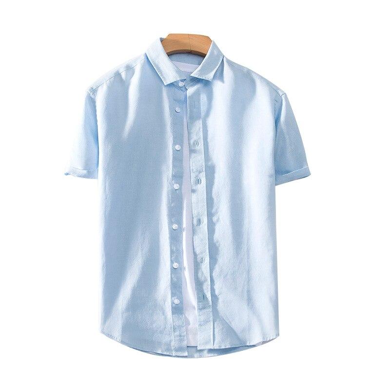 100% Leinen Mens Casual Shirts 2019 Frühling Kurzarm Einfarbig Drehen-unten Kragen Marke Mode Hemd Y1386 Gute QualitäT