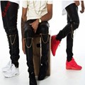 2016 top fashion new mens faux leather slim fit multi zipper hip hop calças skinny motociclista jogger trouserssize 29-36 livre