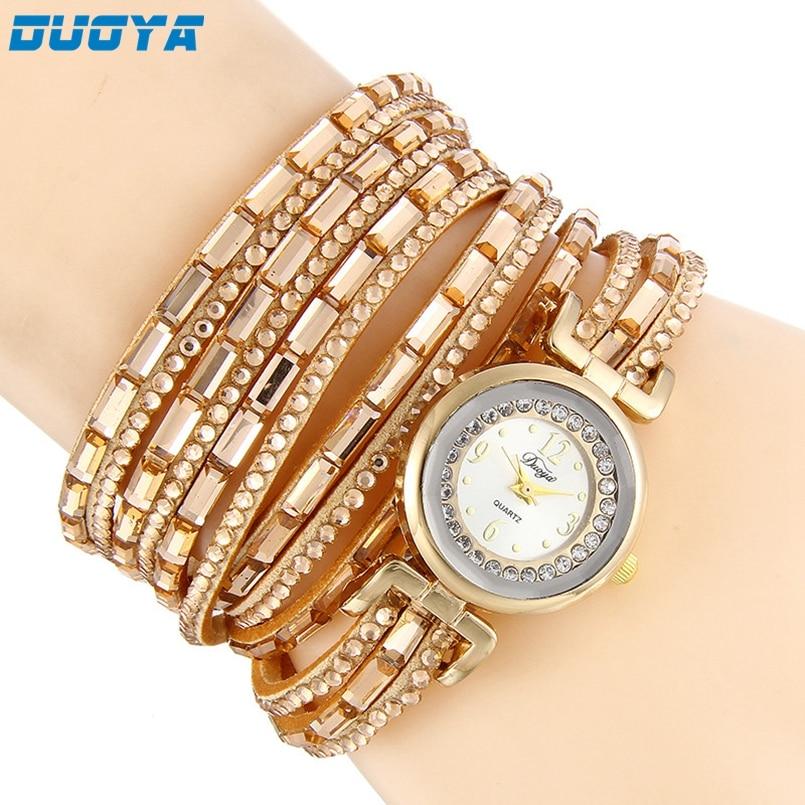 DUOYA Women Watch Luxury Crystal Women Gold Bracelet Quartz Watch Rhinestone Dress Ladies Clock Relogio Feminino Saat Dropship