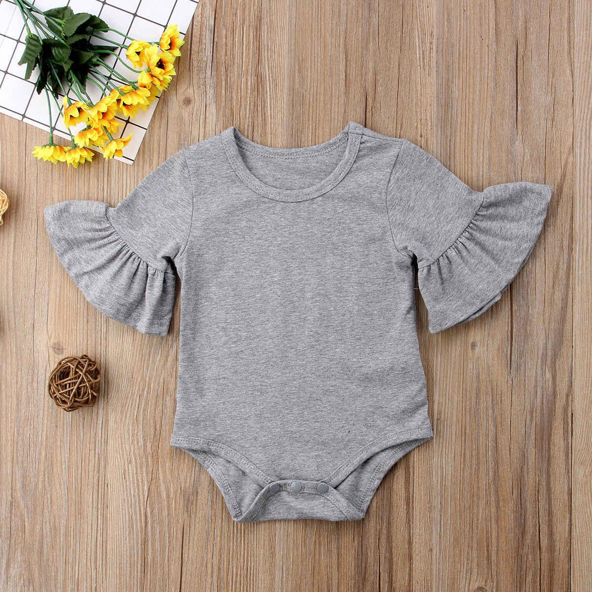 0-24 m יילוד תינוקת התלקחות שרוול מוצק שחור לבן אפור כותנה Romper סרבל תלבושות בגדי תינוקות