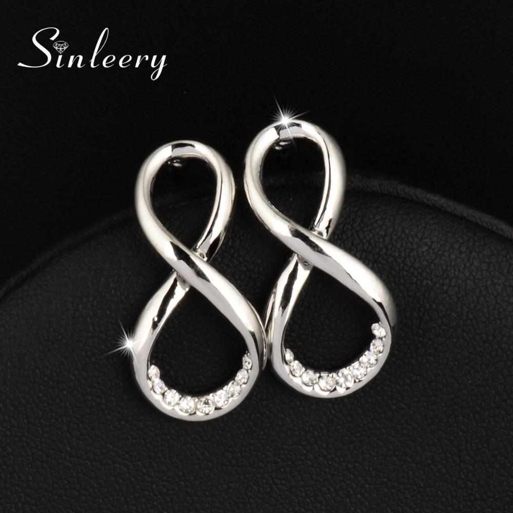 SINLEERY Hot Sale Rhinestone Infinity Earrings Stud Female Silver Color Fashion Women Jewelry Gifts Brincos Es367