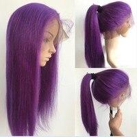 Sunnymay полный шнурок натуральные волосы парики Фиолетовый Цвет бразильский Волосы remy полные парики шнурка с ребенком волос предварительно с