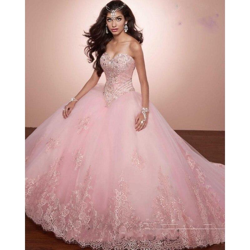 Принцесса Розовый Бальное платье Quinceanera Платья свадебные Платья 15 Рукавов Кружева Края Sweetheat Sweet 16 Платье Дебютантка Платье
