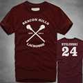 2016 Funny New Fashion BEACON HILLS LACROSSE Maroon T-shirt Wolf Stiles Stilinski Teen 24 Top Summer T Shirt Tee Plus Size 4XL