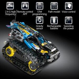 Image 3 - 391 قطعة الخالق APP التحكم عن بعد سيارة الطوب تكنيك RC تتبع المتسابق نموذج ألعاب مكعبات البناء للأطفال هدية