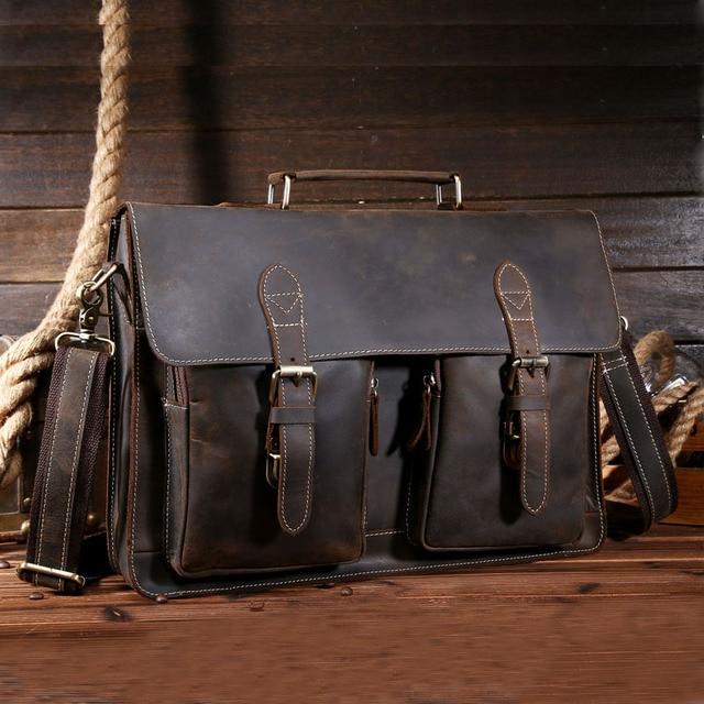 Высокое качество мужской портфель из натуральной кожи винтажный Crazy Horse  Сумка через плечо 15 дюймов для 48ffe47ce0b