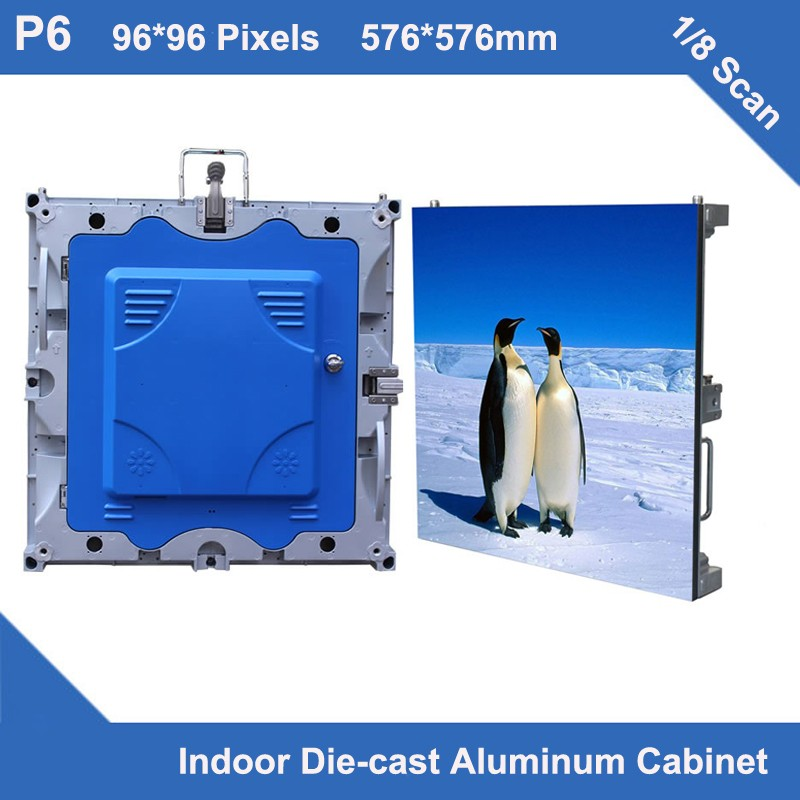 TEEHO 4pcs/lot P6 Indoor Full Color Led Display Diecasting Cabinet Panel 576mm*576mm Slim Rental 1/8 Scan Led Videowall Display
