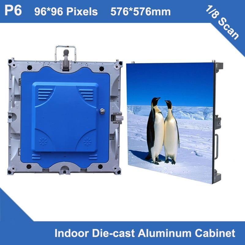 TEEHO 4pcs/lot P6 indoor full color led display diecasting cabinet panel 576mm*576mm slim rental 1/8 scan led videowall display