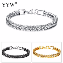 Stylish Stainless Steel Silverly Bali Foxtail Chain Bracelet for Men Double Link Chain Bracelets Male Jewelry 8.26 inch foxtail