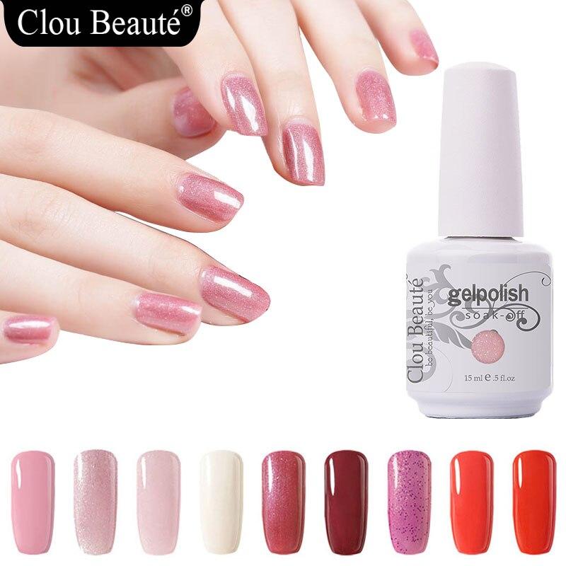 Clou Beaute 15 мл гель Лаки для ногтей УФ розовый красный, черный и белый Soak Off Гель-лак гель лак для ногтей маникюр Vernis полу постоянный