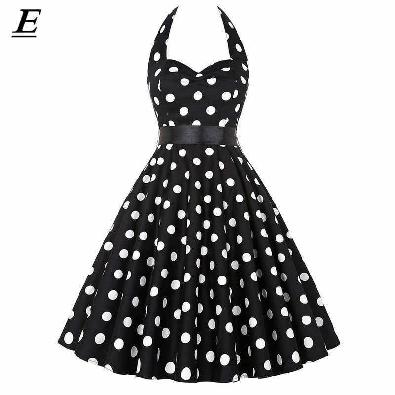 Vermelho novo 2019 retro polka dot hepburn vintage 50s 60s sexy halter vestido de festa pin up rockabilly vestidos robe plus size vestido midi