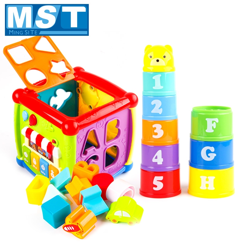 Learning Cube Musical Toys Baby Games Toys For Kids Gear Clock Geometric Blocks Tower Bear Figures Letters Sorting Stacking Cups image