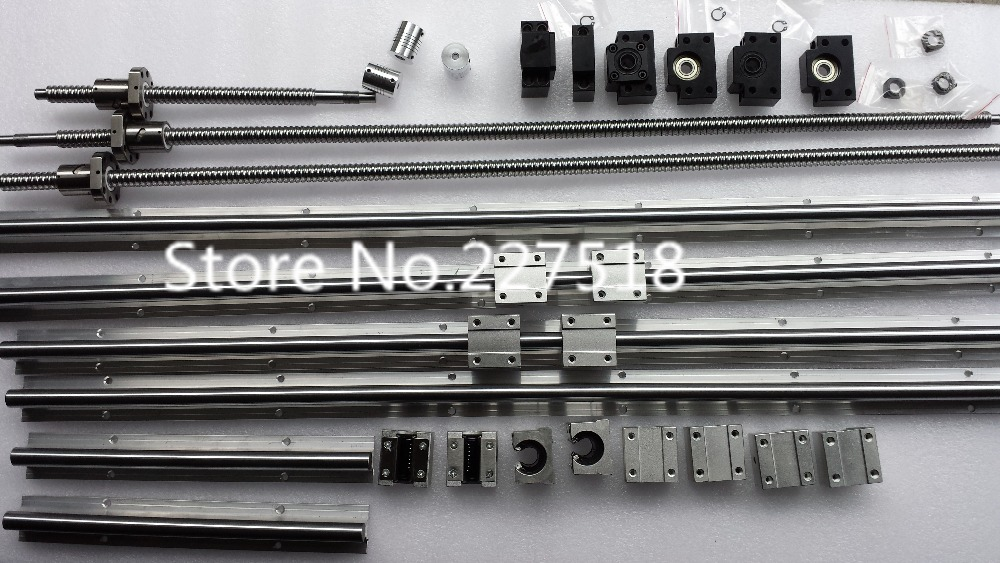 6 sets linear rail SBR16 L350/900/1100mm+SFU1605-350/900/1100mm ball screw+3 BK12/BF12+3 DSG16H nut+3 Coupler for cnc 6 sets linear rail sbr16 l300 900 1100mm sfu1605 300 900 1100mm 1100mm ball screw 4 bk12 bf12 4 dsg16h nut 4 coupler for cnc
