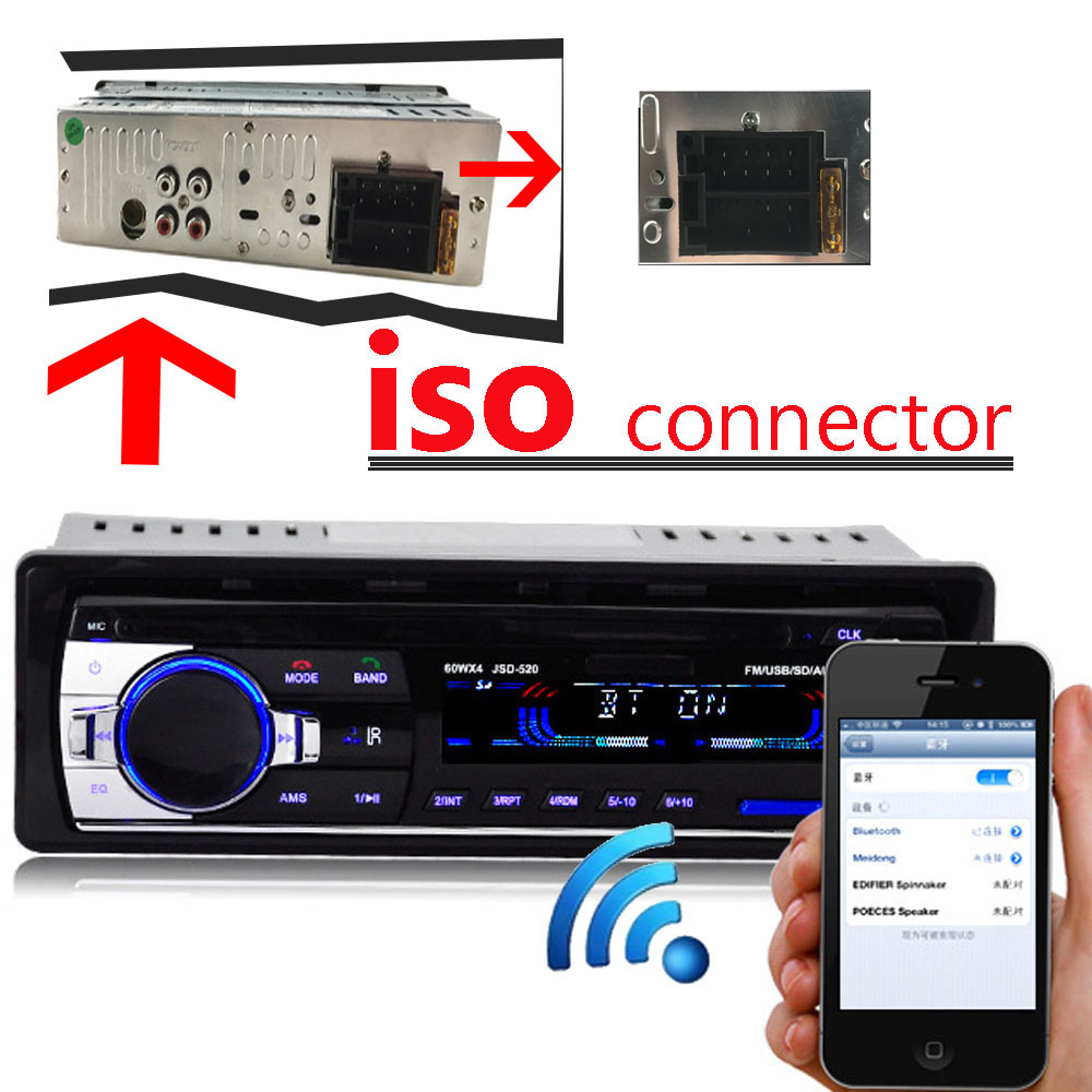 Nuovo 12 V Car audio FM auto Radio bluetooth MP3 Audio Player Bluetooth cellulare handfree USB/SD MMC Port autoradio In Dash one DIN