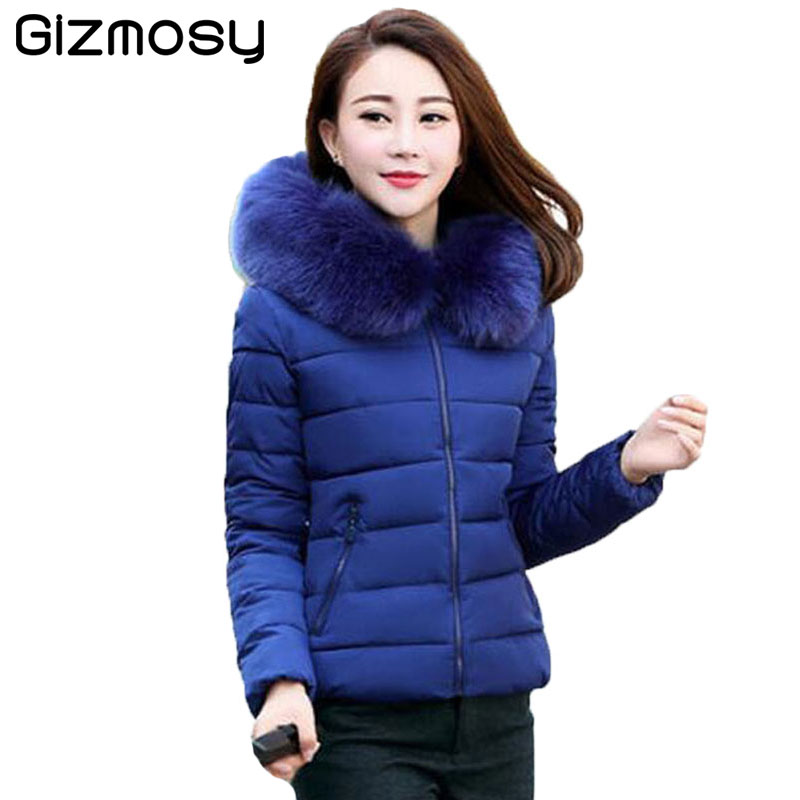 Winter Hooded Jacket Women Cotton Warm Coat Short Slim Parkas Ladies Plus Size middle aged Fur Collar Snow Wear Jackets SY553 winter women medium long middle aged fur collar hooded parkas thick warm plus size coat cotton padded chaquetas mujer tt3058
