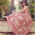 2016 summer dress sleeveless floral chiffon beach dress bohemian seaside resort Party Dresses Vestidos