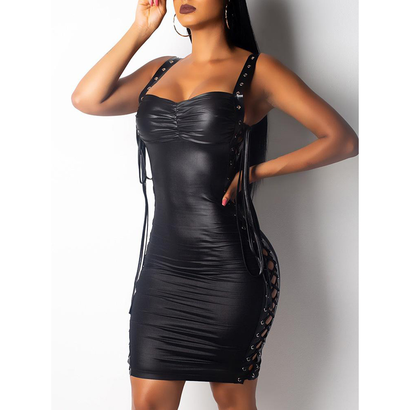 Women's Clothing Generous Women Sexy Mini Dress Deep V-neck Faux Leather Vinyl Soft Mesh Clubwear Fetish Bondage