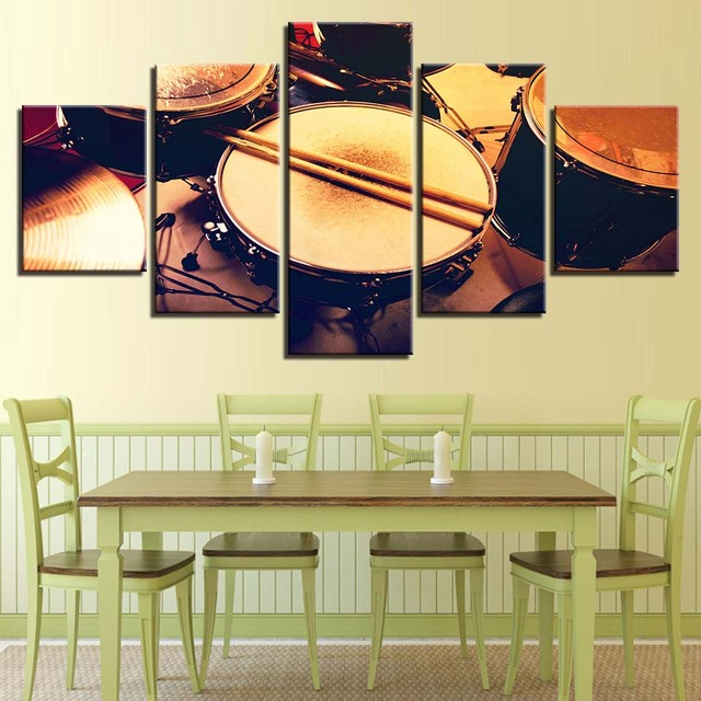 Poster For Painting Modern HD Living Room 5 Panel Drum Musical ...