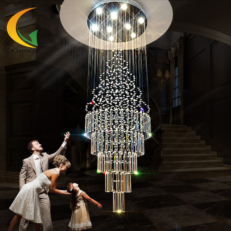LED Crystal pendant light double staircase , long lamp, ceiling lamp, villa, large living room lamp chinese style simple led long block crystal villa staircase pendant lamp revolving double staircase living room lighting pendant