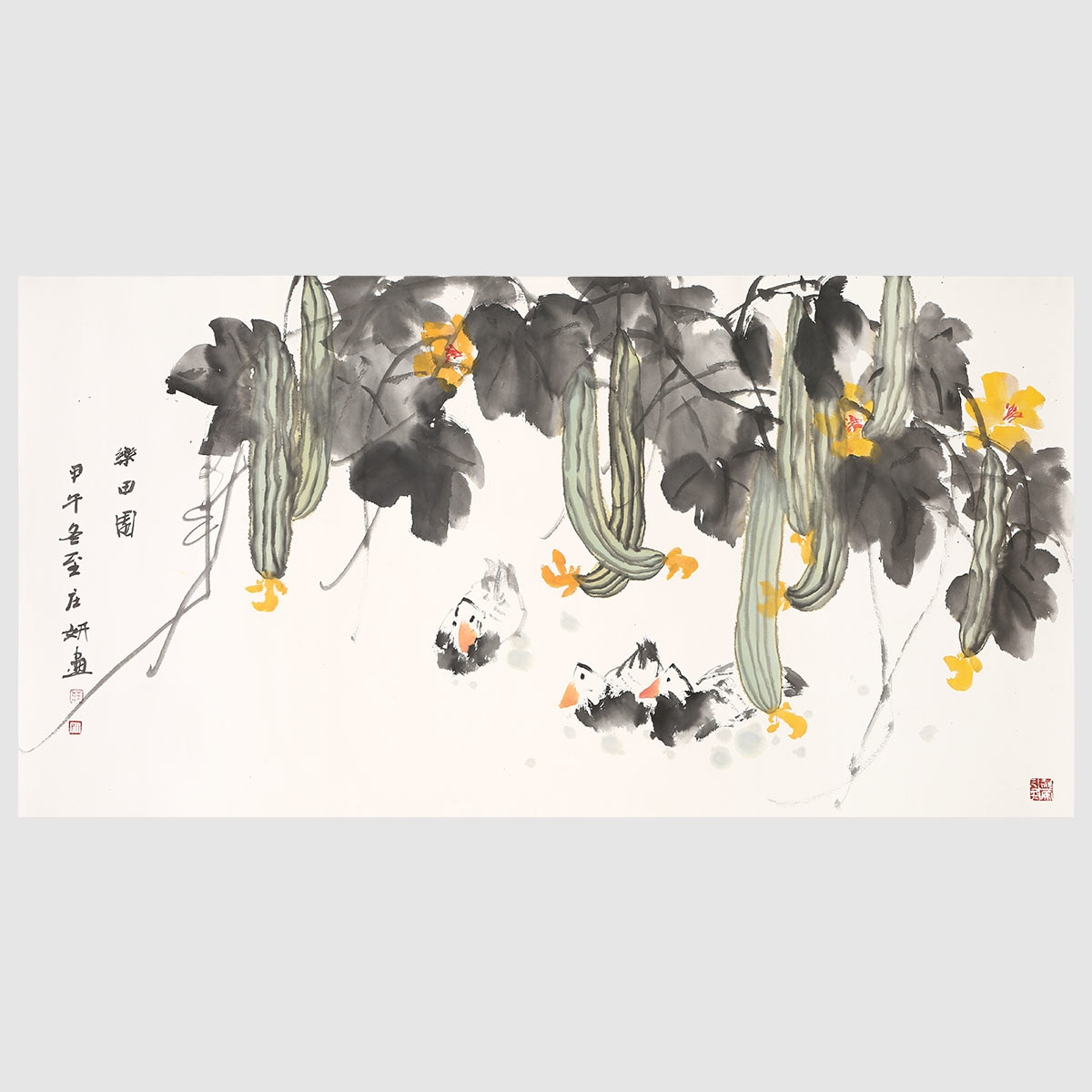 Duck under the Melon Shade Natural Art Painting 100% Hand Painted Traditional Chinese Painting Artwork Wall Art for Home Decor
