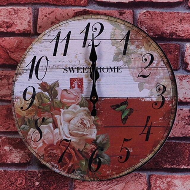 Grote Wandklok Goedkoop.Circulaire Wandklok Bloem Horloge Klok Decoratieve Wandklokken Pastorale Ontwerp Grote Horloge Naald Vakantie Woonkamer Thuis Diy