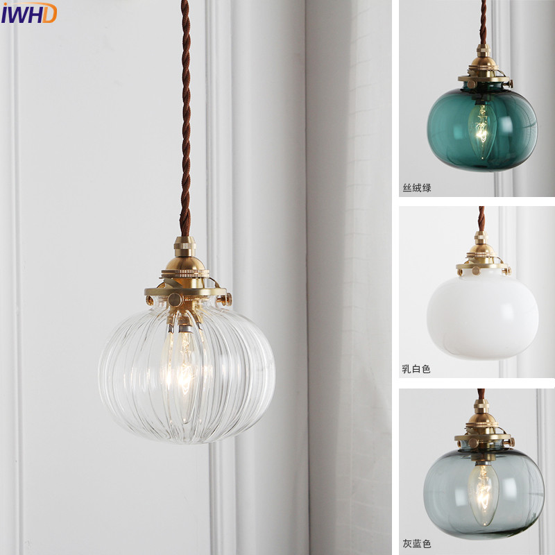 Image 2 - IWHD Nordic Glass Ball Pendant Light Fixtures Dinning Living Room Copper Vintage Pendant Lamp Hanging Lights Home Lighting-in Pendant Lights from Lights & Lighting