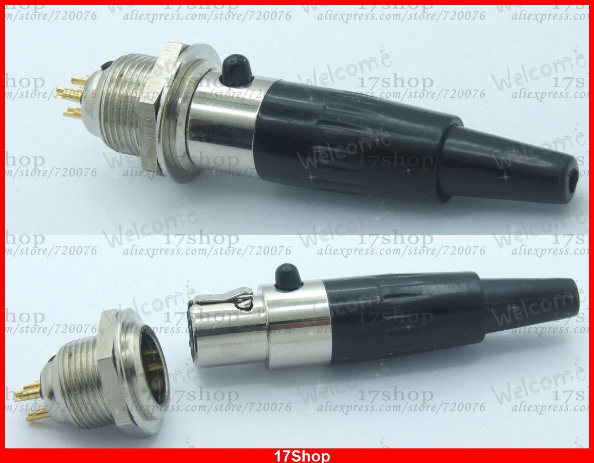 1-sets Connector M/F- Mini XLR 3-Pin M/F Plug Cable Inline Plug Small 3-pin TA3