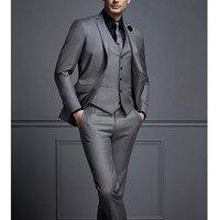 2017 new design black gray two button Groom Tuxedos Best man Suit Wedding Groomsman Men Suits Bridegroom(Jacket+Pants+Tie+Vest