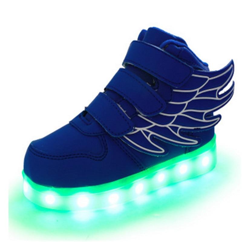 Lapsed valgustavad tossud USB Charge Poisid Tüdrukute valgustus Wing PU nahast hõõguvad kingad Lapsed Suurus 25-37