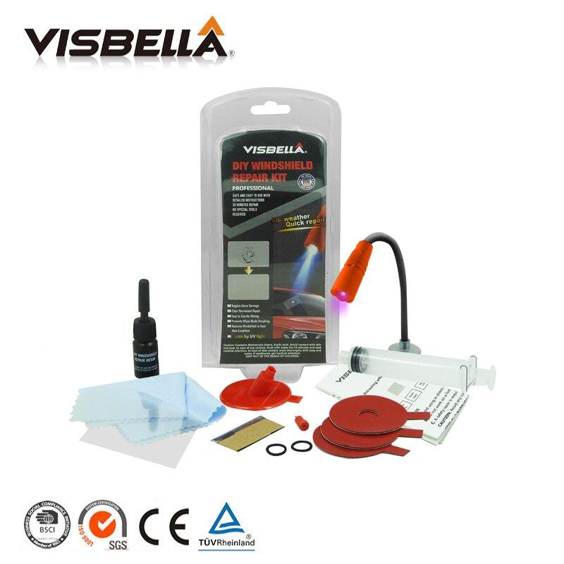 Visbella DIY ремонт лобового стекла ветрового стекла Стекло чип трещина яблочко восстановить клей для автомобиля Ремонт окон Kit с УФ-лампы
