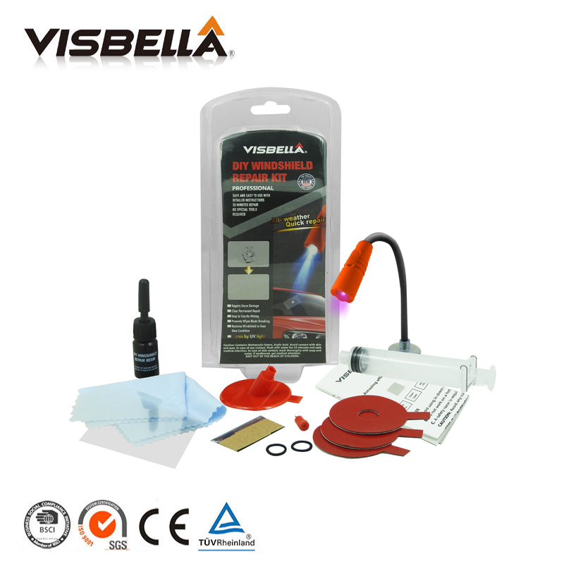 Visbella DIY Windschutzscheibe Reparatur windschutzscheibe Chip Riss Bullseye Wiederherstellung Kleber für Autofenster Reparatur Kit mit uv-lampe