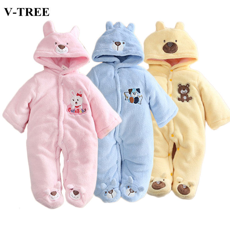 v tree rabbit baby winter rompers thick fleece overalls. Black Bedroom Furniture Sets. Home Design Ideas
