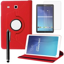 "Pour Samsung Galaxy Tab E 9.6 ""SM-T560 360 Rotation Case tablet Cover cas PU Cuir Stand Smart Tablet Case Cover + film livraison"