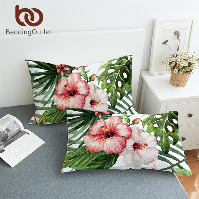BeddingOutlet Flowers Pillowcase Leaves Pillow Case Tropical Plants Bedding 2pcs Red Green White Pillow Cover 50cmx90cm