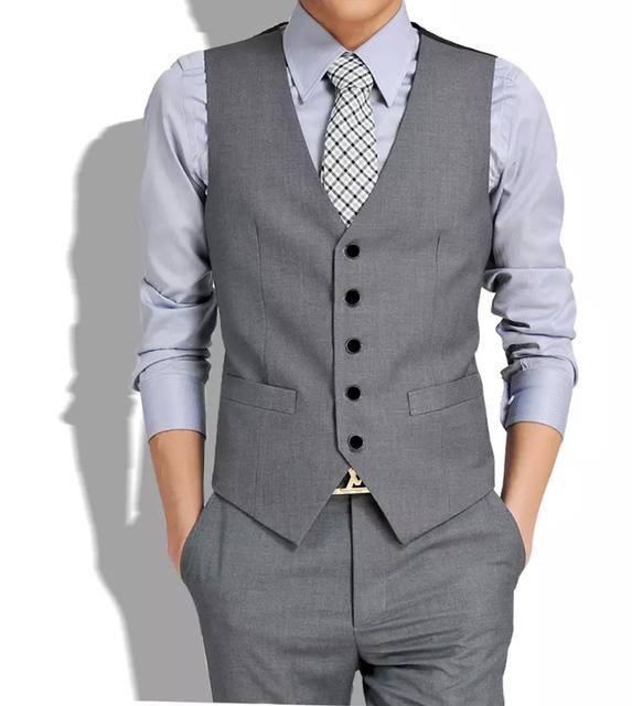 Estação europeia vintage moda masculina de algodão único breasted homens terno colete jaqueta sem mangas colete masculino fino colete blazer