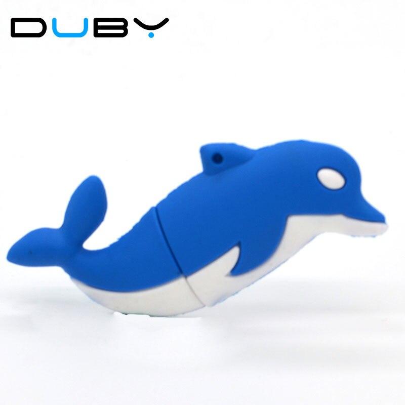 100% Genuine USB Flash Drive cartoon lovely dolphin shaped memory stick pen drive 4GB 8GB 16GB 32GB 64GB pendrive hot sale cheap