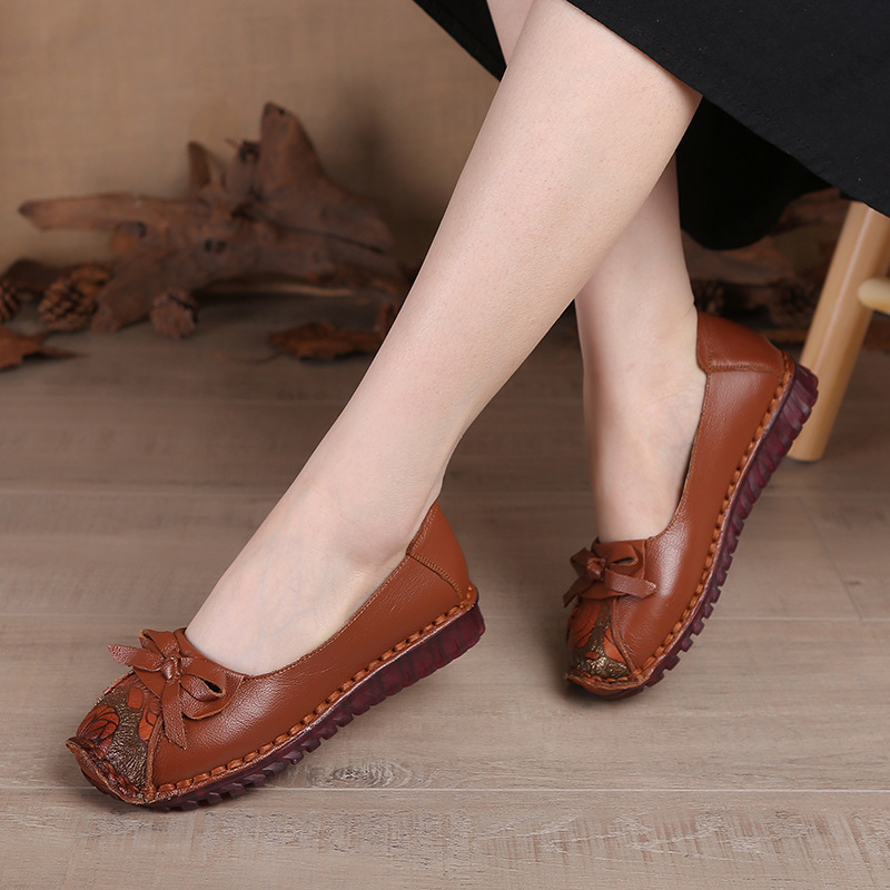 Beliebte Vintage Frauen Schuhe Bowtie Einzelnen Schuhe Weichen Bequemen Mutter Schuhe Handgemachte schuhe größe 35 41 freies verschiffen-in Damenpumps aus Schuhe bei  Gruppe 2