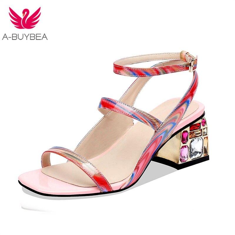 Cuero Tacón Cristal De Vaca Arco Zapatos Patente Mujeres Sandalias Hebilla Color Iris dBrxoWeQC