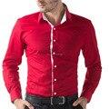 Рубашки новинка марка slim-подходят мужские с длинным рукавом бизнес свободного покроя мужчины одеваются черный / белый / хаки / красный мужской
