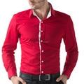 Moda de nueva marca Slim fit camisas de negocios de manga larga Casual hombres camisas de vestir negro / blanco / de color caqui / rojo camisetas hombre
