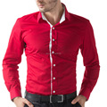 New Fashion Brand Slim fit Mens Shirts Long Sleeve Business Casual Men Dress Shirts Black/White/Khaki/Red Shirts Male